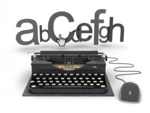 Печатная машинка с буквами