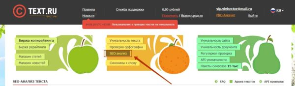 Как зайти в SEO-анализ Text.ru