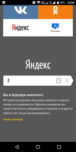 приватный режим в яндекс браузере на Андроид